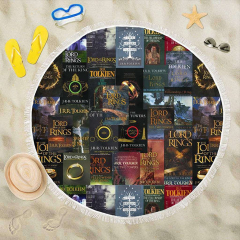 The Lord Of The Rings Book Covers Beach Blanket - Gifts For Reading Addicts