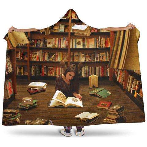reading at library hooded blanket - Gifts For Reading Addicts