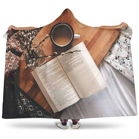 Books and coffee hooded blanket
