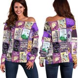 The Color Purple Book Covers Off Shouler sweater - Gifts For Reading Addicts