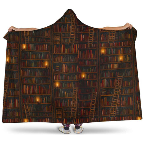brown bookshelf Hooded blanket