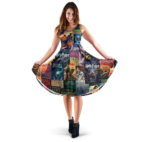 HP Book Cover Pattern Dress - Gifts For Reading Addicts