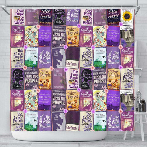 Color Purple Book Covers Pattern Curtain - Gifts For Reading Addicts