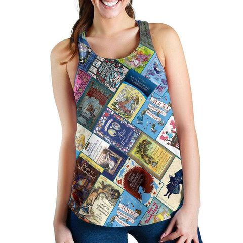 Alice In Wonderland Book Covers Women's Tank - Gifts For Reading Addicts