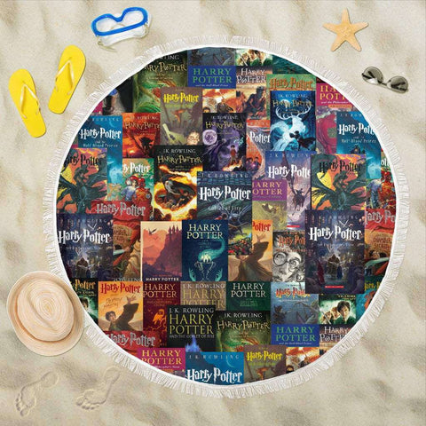 HP Book Covers Round Beach Blanket - Gifts For Reading Addicts
