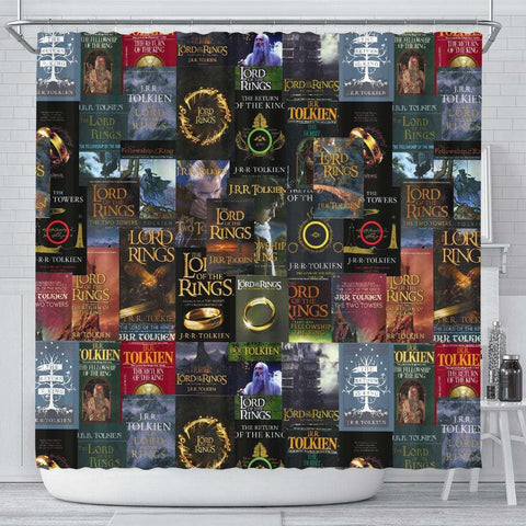 The Lord Of The Rings Book Covers Shower Curtain - Gifts For Reading Addicts