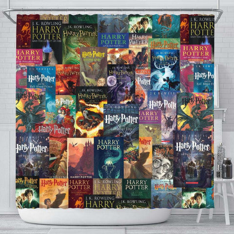 HP Book Cover Pattern Shower Curtain - Gifts For Reading Addicts
