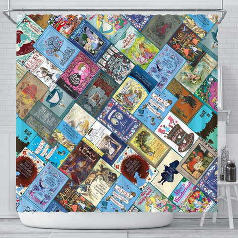 Alice In Wonderland Book Cover Curtain - Gifts For Reading Addicts