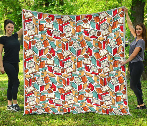 Book Pattern Quilt - Gifts For Reading Addicts
