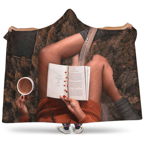 Book and coffee hooded blanket