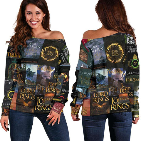 The Lord Of The Rings Book Covers Off Shoulder Sweater - Gifts For Reading Addicts