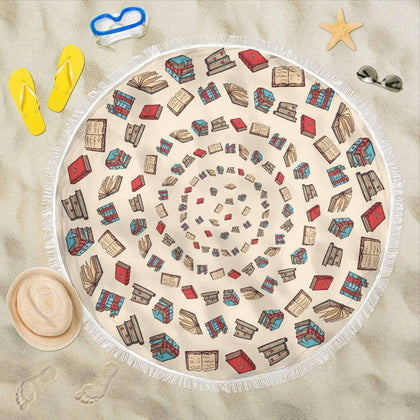 Light Brown Bookish Round Beach Blanket - Gifts For Reading Addicts