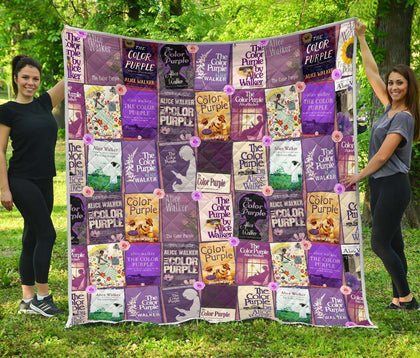 Color Purple Book Covers Quilt - Gifts For Reading Addicts