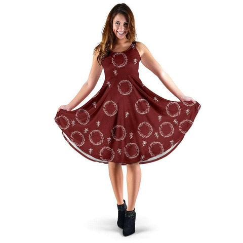 Red Lord Of The Rings Midi-Dress