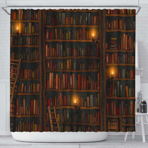 Brown Bookshelf Bookish Curtain - Gifts For Reading Addicts