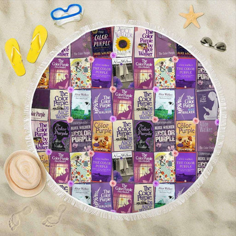 The Color Purple Book Covers Round Beach Blanket - Gifts For Reading Addicts