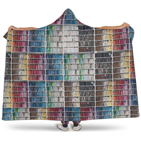 bookshelf pattern hooded blanket - Gifts For Reading Addicts