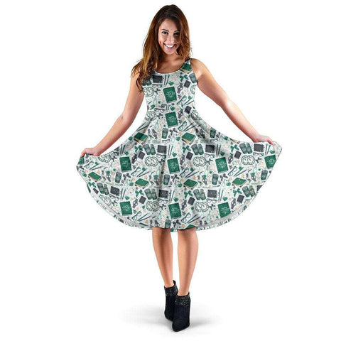 Green Bookish Pattern Midi-Dress - Gifts For Reading Addicts