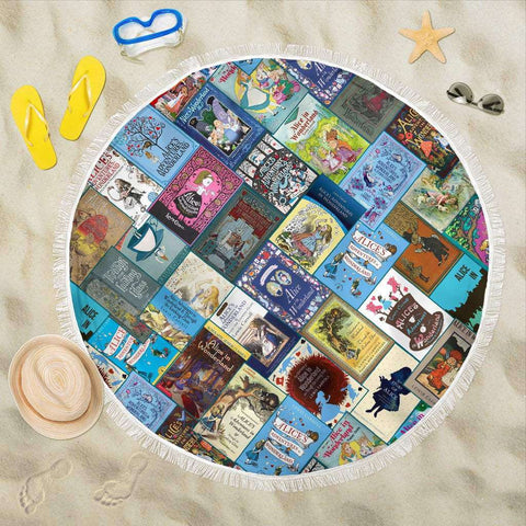 Alice In Wonderland Book Cover Round Beach Blanket - Gifts For Reading Addicts