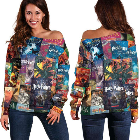 HP Book Covers Off Shoulder Sweater - Gifts For Reading Addicts