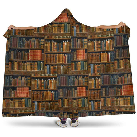 brown bookshelf pattern Hooded blanket - Gifts For Reading Addicts