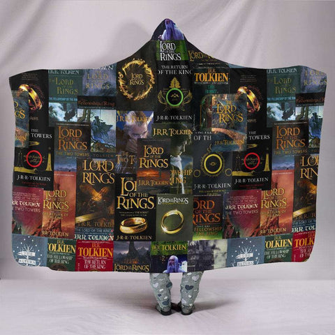 The Lord Of The Rings Book Cover Hooded Blanket - Gifts For Reading Addicts