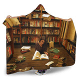 reading at library hooded blanket