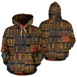 Bookshelf All Over Print Hoodie - Gifts For Reading Addicts