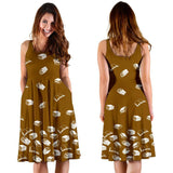 Dark Yellow Bookish Midi-Dress