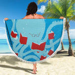 Blue Bookish Round Beach Blanket - Gifts For Reading Addicts