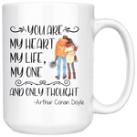 """My heart my life""15oz white mug - Gifts For Reading Addicts"