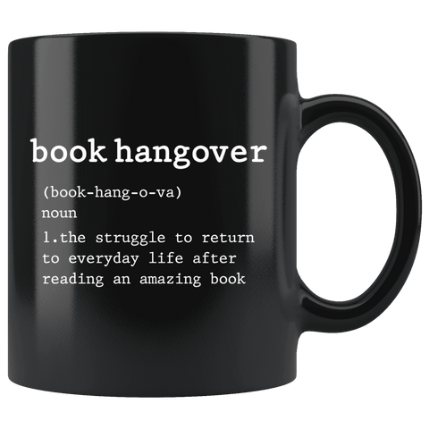 """book hangover""11oz black mug"