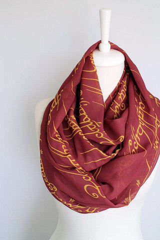 Red Lord of the Rings Handmade Infinity Scarf Limited Edition - Gifts For Reading Addicts