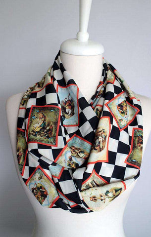 Alice In Wonderland Themed Handmade Infinity Scarf Limited Edition - Gifts For Reading Addicts