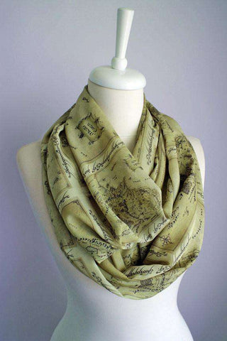 Lord of the Rings Map Handmade Infinity Scarf Limited Edition - Gifts For Reading Addicts