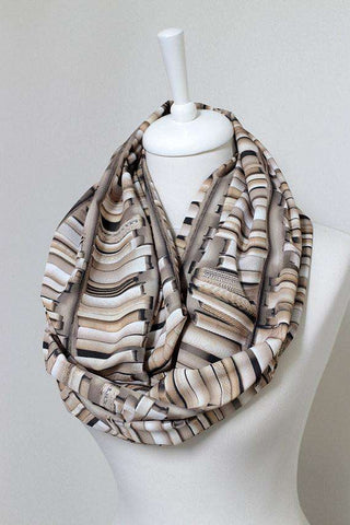 Bookshelf Infinity brown Handmade Scarf Limited Edition-For Reading Addicts
