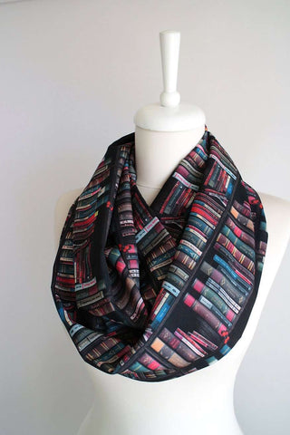Bookshelf Infinity Scarf Handmade Limited Edition - Gifts For Reading Addicts
