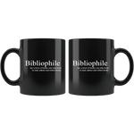"""Bibliophile""11oz black mug - Gifts For Reading Addicts"