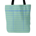 Library Card Tote, Green-For Reading Addicts