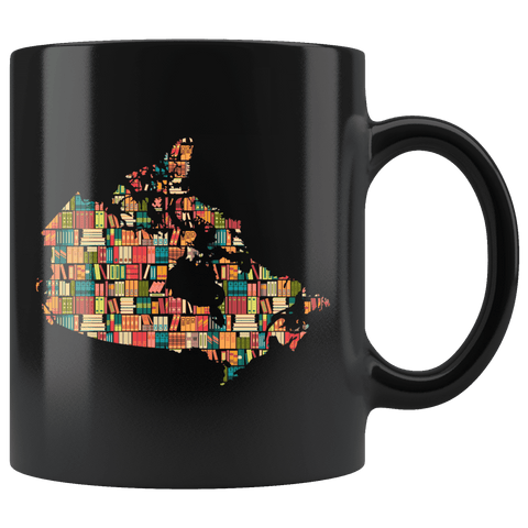 """Canada Bookish Map""11oz Black Mug"