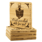 """I'll Hold Your Drink""Bookish Bamboo Coaster - Gifts For Reading Addicts"