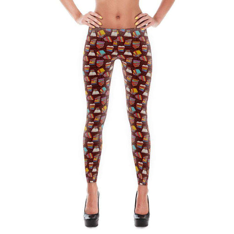 Book Lovers Leggings With Brown Pattern Design-For Reading Addicts