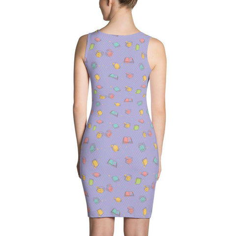 Bookish Pattern Dress Purple-For Reading Addicts