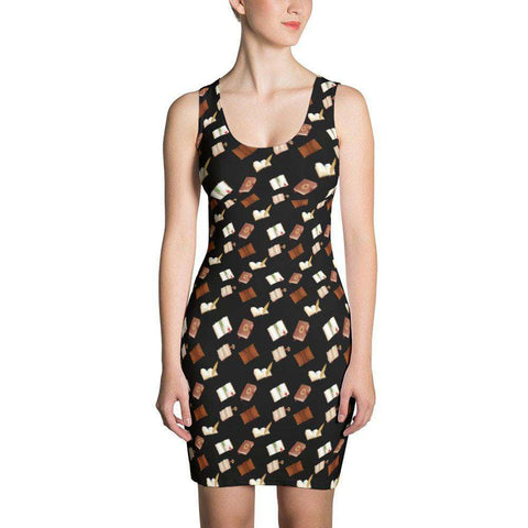 FRA Exclusive Book Lovers Black Fitted Dress With Pattern - Gifts For Reading Addicts