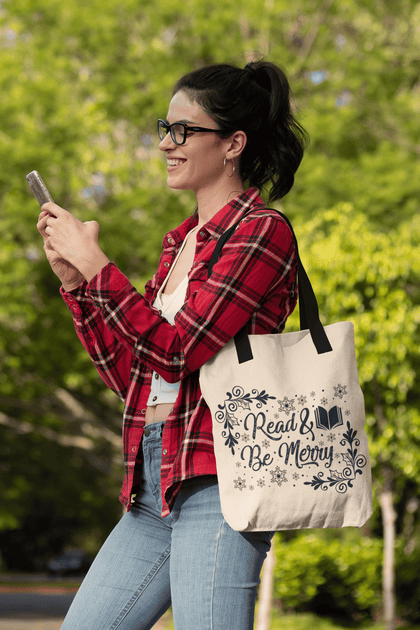 """Read & Be Merry""Christmas Tote"