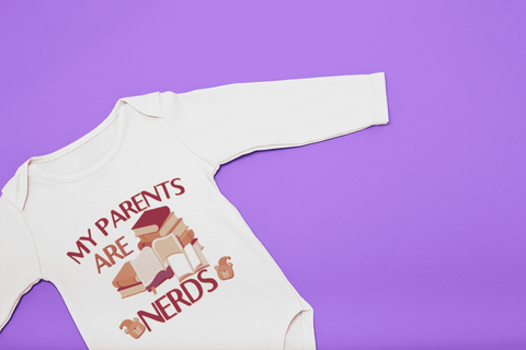 """My Parents Are Nerds""Long Sleeve Baby Bodysuit"