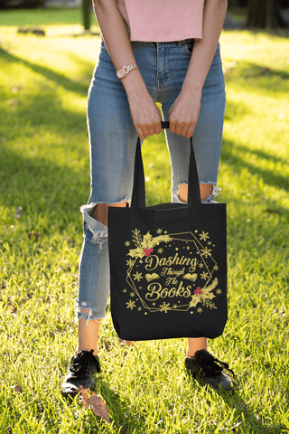 """Dashing Through The Books""Black Christmas Tote - Gifts For Reading Addicts"