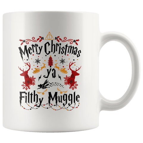 """Ya Filthy Muggle""11oz White Christmas Mug - Gifts For Reading Addicts"