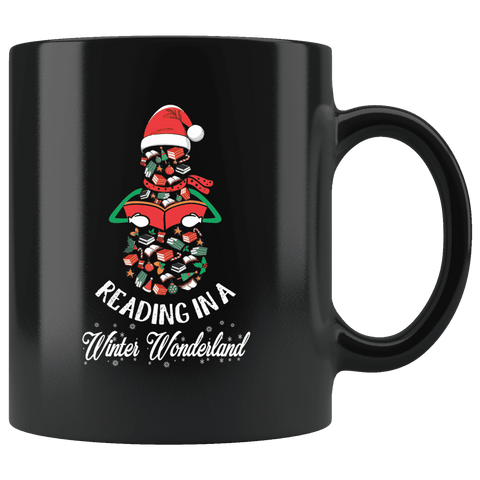"""Reading in a winter wonderland""11 oz Black mug"