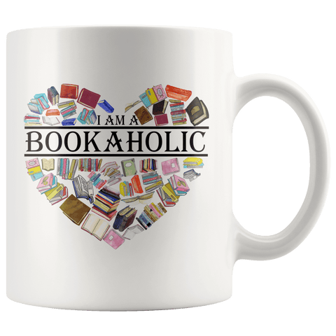 """I am a bookaholic""11oz white mug - Gifts For Reading Addicts"